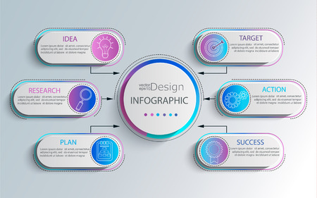 Creative modern infographic with business timeline data visualization.Template Diagram with 6 steps.Vector illustration.