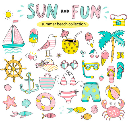 Summer set of sun and fun hand drawn elements such as boat, sun, drinks and fish