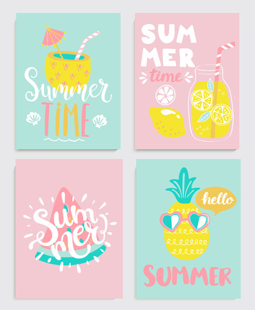 Cute set of bright summer cards with drinks,lemonade,pineapple,watermelon and handdrawn lettering and other fun elements. Perfect for summertime posters, banners, gift,print. Vector illustration.