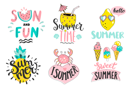 Set of cute summer hand drawn labels, icon, tags and elements for holiday, travel and beach vacation with positive quotes. Perfect for web, card, poster, cover, tag, invitation, sticker. Vector illustration. Stock Illustratie