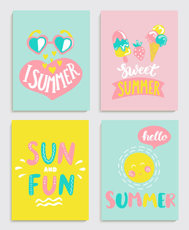 Beautiful set of bright summer cards with ice cream, sun with a bubble and handdrawn lettering and other fun elements. Perfect for summertime posters, banners, gift,print. Vector illustration. Stock Illustratie