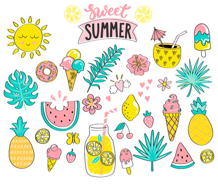 Set of sweet summer hand drawn elements - sun,tropical leaves,drinks and ice cream,watermelon,pineapple for holiday,travel and beach vacation.Great for web,card,poster,invitation,sticker.Vector illustration. Stock Illustratie