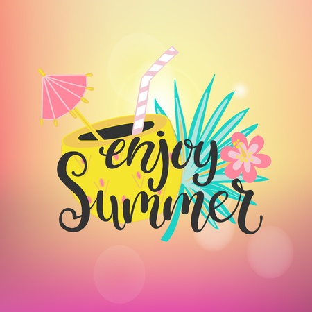 Enjoy summer paradise. Banner for party, card for holiday, poster with drinks, tropical leaf, flowers and lettering. Vector illustration Stock Illustratie