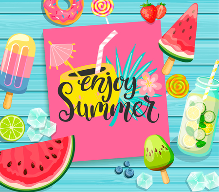 Enjoy Summer card with lettering on blue wooden background with lemonade, detox, watermelon, ice, donut, ice cream, lime and candy. Vector Illustration.