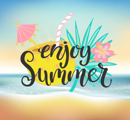 Enjoy summer beach party. Banner and happy holiday card. Poster with lettering, drinks and flower. Vector illustration. Stock Illustratie