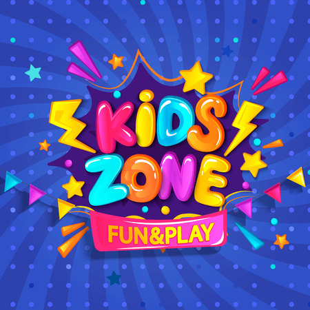Super Banner for kids zone in cartoon style with burst background. Place for fun and play. Poster for childrens playroom decoration. Vector illustration. Stock Illustratie