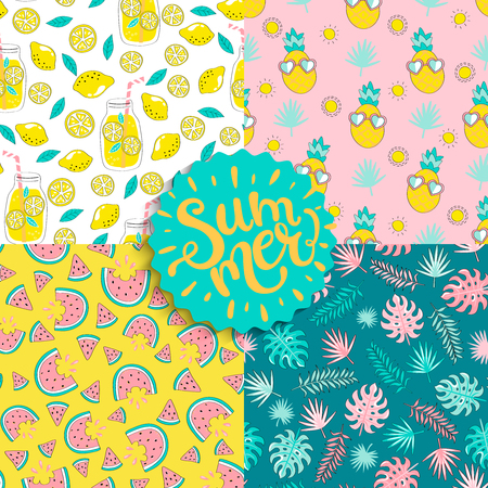Set of Colorful seamless summer patterns with hand drawn elements such as sunglasses, watermelon, tropical leaves, pineapples, lemonade, mint. For fashion print design, textile, vector illustration.