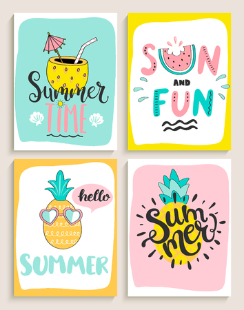 Cute set of bright summer cards with cocktail,sun and fun,pineapple,watermelon and handdrawn lettering and other fun elements. Perfect for summertime posters,banners,gift,print. Vector illustration.