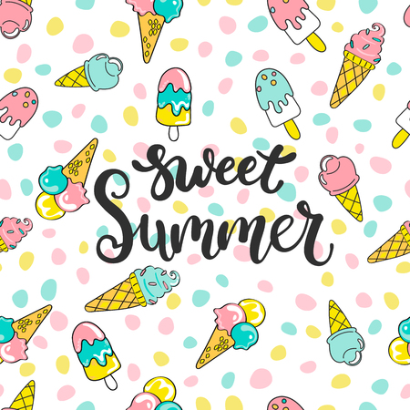 Colorful seamless sweet summer pattern with hand drawn elements such as different ice creams. For fashion print design, textile, vector illustration.