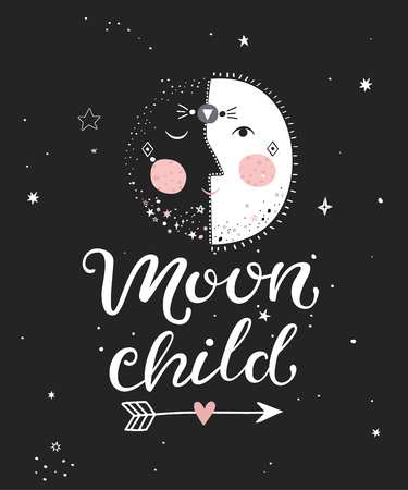 Moon child monochrome poster with hand drawn lettering. Vector illustration.