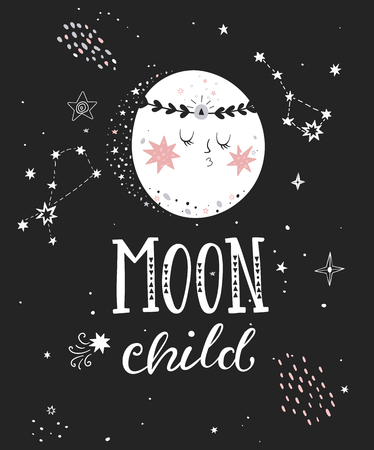 Moon child poster with hand drawn lettering. Vector illustration.