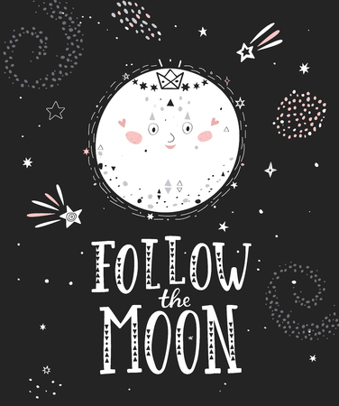 Follow the moon monochrome poster with full moon and hand drawn lettering. Vector illustration. Stock Illustratie