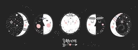 Fases lunares, imagen de personajes sobre fondo negro. Ilustración de vector dibujado a mano del ciclo de luna nueva a luna llena.