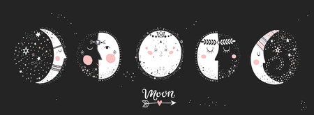 Maanstanden, afbeelding van personages op zwarte achtergrond. Hand getekend vectorillustratie van cyclus van nieuwe tot volle maan.