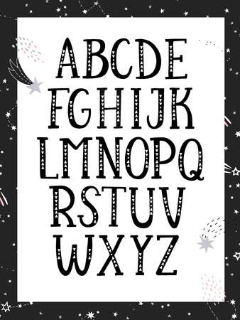 Hand drawn graphic font. Black and white, monochrome alphabet. For typography poster, card and label, brochure, flyer, page and banner design. Vector illusration.