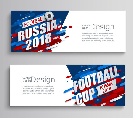 Set of two modern cards of a football cup 2018 on dynamic background. For the soccer championship.Perfect for design cards, invitations, gift cards, flyers, brochures, banners, templates. Vector.