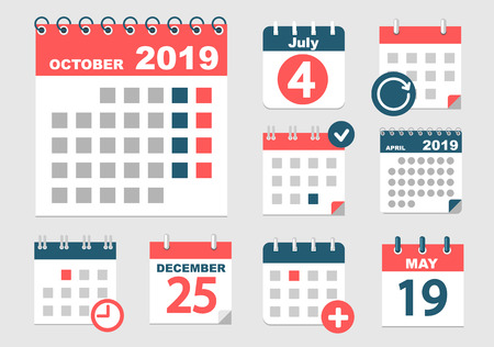 Set of different calendars with different options for 2018-2019 years with dates, holidays and weekands. Vector illustration.
