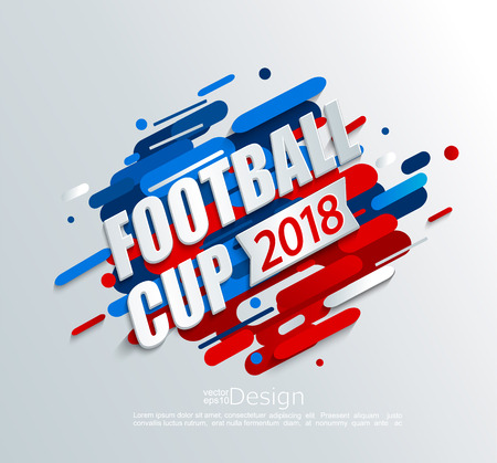 Vector illustration for a football cup 2018 on dynamic background. For the soccer championship.Perfect for design cards, invitations, gift cards, flyers, brochures, banners and so on. Stock Photo