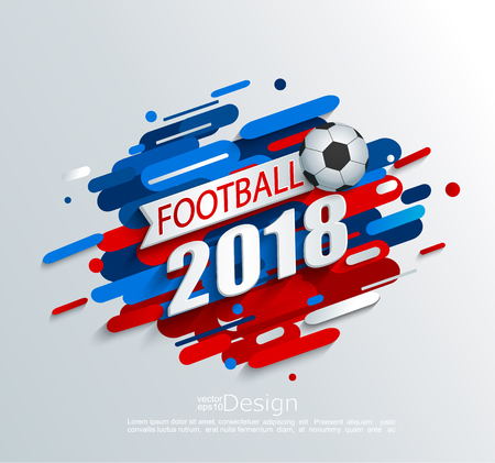 Vector illustration for a football cup 2018 with dynamic background and ball. For the soccer championship.Perfect for design cards, invitations, gift cards, flyers, brochures, banners and so on.