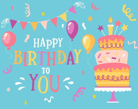 Happy Birthday to you typographic vector design for greeting cards with balloon, confetti, lettering composition, flags and cake, design template for birthday celebration.