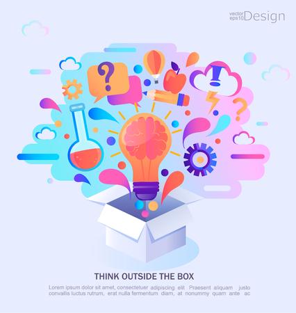 Piense fuera de la caja, ilustración vectorial. Banner de concepto de infografía. Proceso e idea creativos. Ilustración de vector. Ilustración de vector