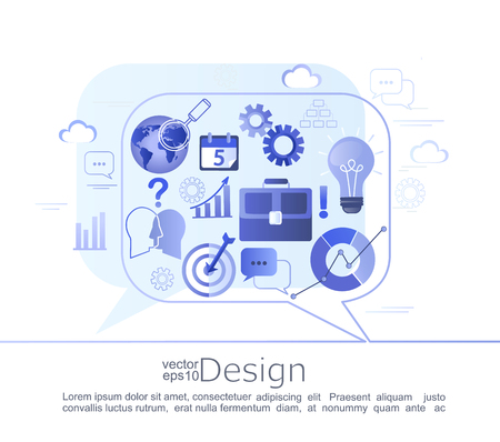 Creative infographic concept of business consulting. Various signs and symbols characterizing the course of a business project. Vector illustration.