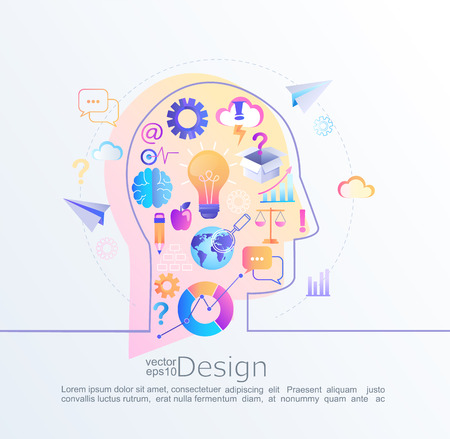 Creative infographic concept of big inspiration in our brain with head profile.Effective thinking. Various signs and symbols, business icons in flat style that lead to an big idea.Vector illustration. Hình minh hoạ