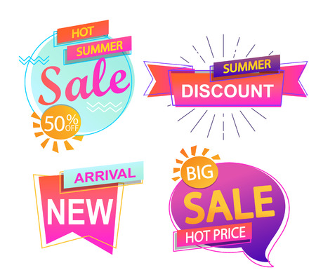 Set of 4 banner elements, sale and discount tag collection, hot summer special offer. Modern website stickers. Vector illustration. Illustration