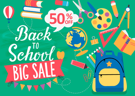 Banner Back To School big sale with different educational tools Flat Icons. Discount Concept. Perfect for retail marketing promotion and education related. Vector Illustration.