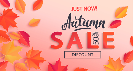 Autumn sale banner with half price discount surrounded by colorful autumn leaves for fall season shopping promotion. Vector illustration.