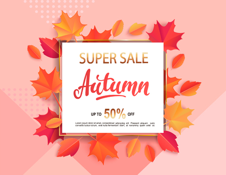 Autumn super sale banner in gold square frame surrounded by colorful autumn leaves on geometric background for fall season shopping promotion. Vector illustration.