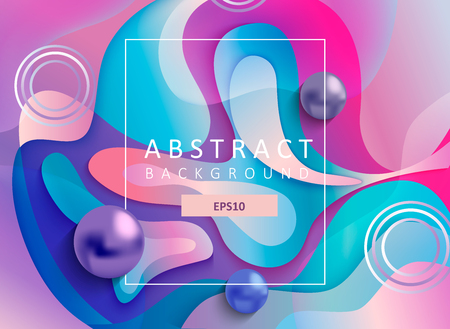Abstract geometric gradient background with wavy shapes, square frame and balls. Colorful and digital backdrop for the advertise and marketing in dynamic, fluid forms. Vector illustration.