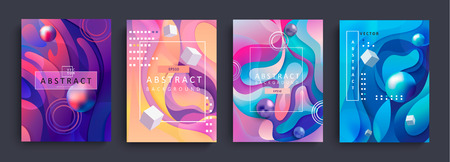Set van 4 abstracte gradiëntachtergronden en baners met golvende vormen, cirkels, kubussen en ballen. Kleurrijke en digitale achtergrond voor adverteren en marketing in dynamische, vloeiende vormen. Vectorillustratie. Vector Illustratie