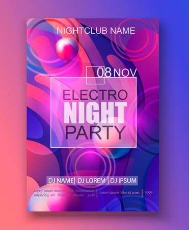 Flyer, banner to the electro night party on abstract gradient background. Colorful and digital backdrop for the invitations, advertise and marketing in dynamic, fluid forms. Vector illustration.