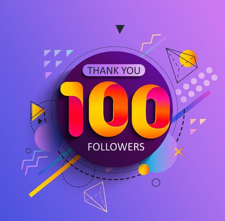 Grazie per i primi 100 follower. Grazie carta di congratulazioni seguaci. Illustrazione di vettore per i social network. L'utente Web o il blogger celebra e twitta un gran numero di abbonati. Vettoriali