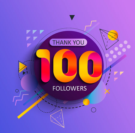 Thanks for the first 100 followers. Thank you followers congratulation card. Vector illustration for Social Networks. Web user or blogger celebrates and tweets a large number of subscribers. Иллюстрация