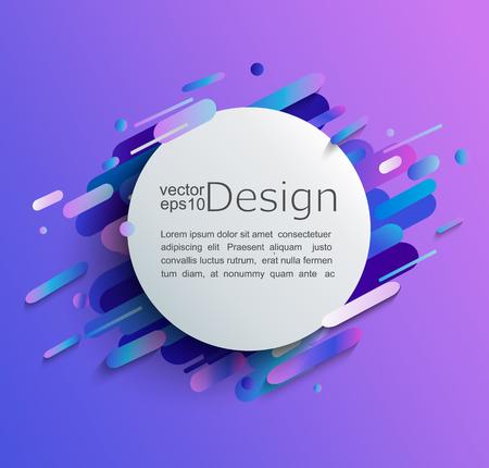 Cirkelframe met dynamische afgeronde vormen op moderne en abstracte achtergrond met kleurovergang. Vector illustratie.