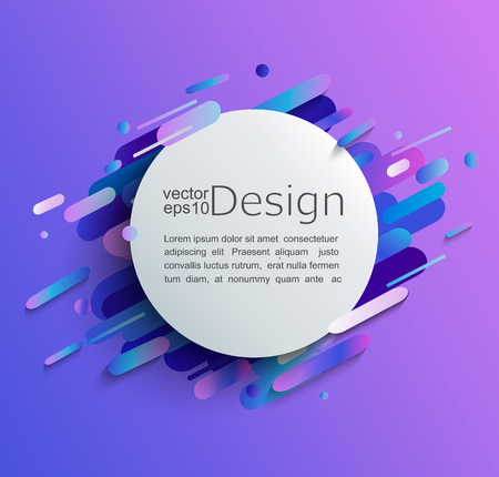Circle frame with dynamic rounded shapes on modern and abstract gradient background. Vector illustration.