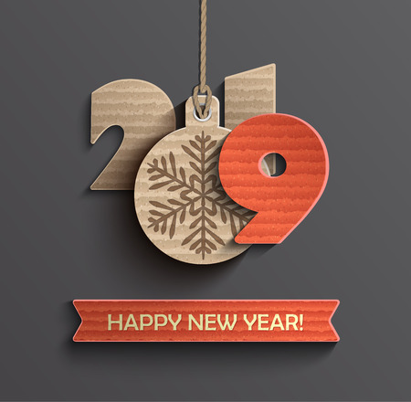 2019 Creative happy new year banner in paper style for your seasonal holidays flyers, greetings cards and christmas themed invitations. Vector illustration. Иллюстрация