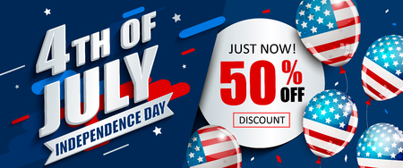 50 per cent off sale banner with balloons for Independence day. Just now offer of half price discount. Template for your design, card and flyer, poster for 4th of July in USA. Vector illustration.