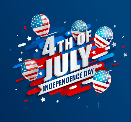 Banner with balloons for Independence day of the usa. Template for your design. greeting card, flyer, poster for 4th of July. Vector illustration. Иллюстрация