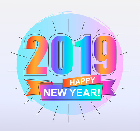 2019 Happy New Year. Colorful outline gradient banner for new year holidays. Perfect for presentations, flyers and banners, leaflets, postcards and posters. Vector illustration EPS10. Иллюстрация