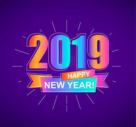 2019 Happy New Year. Colorful outline banner for new year holidays. Perfect for presentations, flyers and banners, leaflets, postcards and posters, your design. Vector illustration EPS10.