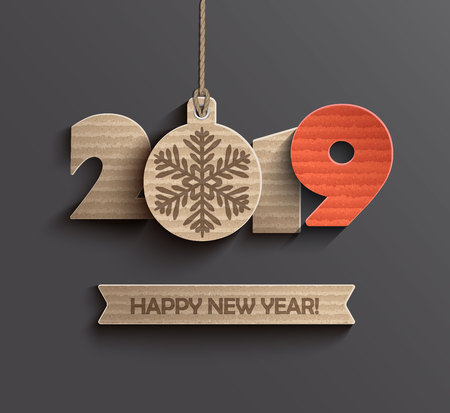 Modern creative card for happy new year 2019 paper design. Perfect for presentations, flyers and banners, leaflets, postcards and posters. Vector illustration EPS10. Иллюстрация