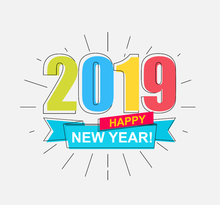 2019 Happy New Year. Colorful outline banner for new year holidays. Perfect for presentations, flyers and banners, leaflets, postcards and posters. Vector illustration EPS10. Иллюстрация