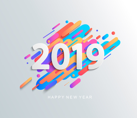 Creative happy new year 2019 card on modern motion background. Vector illustration. Perfect for presentations, flyers and banners, leaflets, postcards and posters. EPS10