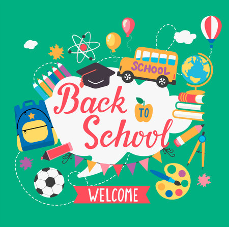 Banner welcome Back To School With different Flat Icons. Education Concept.Vector Illustration.