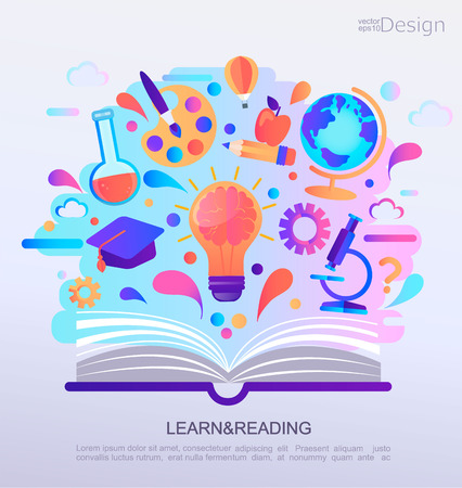 Education Infographic concept banner. Open book with signs and symbols of knowledge. Background for school. Vector Illustration.