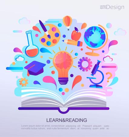 Insegna di concetto di Infographic di formazione. Libro aperto con segni e simboli della conoscenza. Sfondo per la scuola. Illustrazione di vettore.
