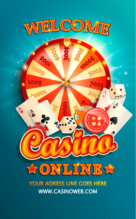 Welcome flyer for casino online with poker cards, playing dice, chips, fortune wheel and other gambling design elements. Invitation poster template on shiny background. Vector illustration. Çizim